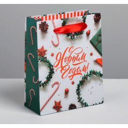 Пакет ламинированный вертикальный С Новым годом, S 5.5 × 12 × 15 см