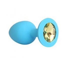 ВТУЛКА АНАЛЬНАЯ синяя, цвет кристалла жёлтый, силикон, L 73 мм, D 30 мм, арт. SF-70191-06