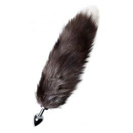 Анальная втулка Metal by TOYFA хвостом черно-бурой лисы, металл, серебристый, 45 см, Ø 3,3 см