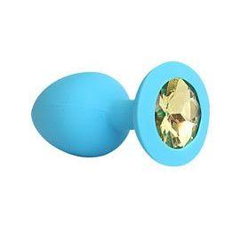 ВТУЛКА АНАЛЬНАЯ синяя, цвет кристалла жёлтый, силикон, L 95 мм, D 40 мм, арт. SF-70291-06