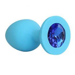 ВТУЛКА АНАЛЬНАЯ синяя, цвет кристалла синий, силикон, L 95 мм, D 40 мм, арт. SF-70291-13
