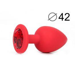 ВТУЛКА АНАЛЬНАЯ, L 95 мм D 42 мм, красная, цвет кристалла красный, силикон, арт. SF-70602-16