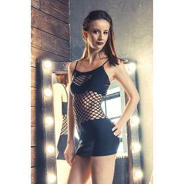 Платье бесшовное Erolanta Net Magic с вставками из крупной сетки черное-S/L