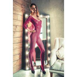 Костюм-сетка Erolanta Net Magic бесшовный с рукавами, с цветочным рисунком, розовый-S/L