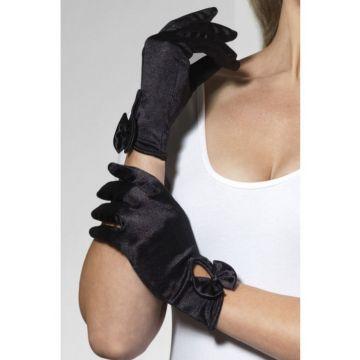 Перчатки Леди атласные (черные) (Fever) (One Size)