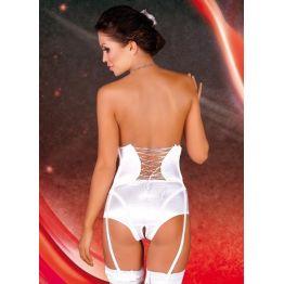 Lalia - Пояс-корсет c пажами, открытые шортики и подвязка белые-S/M