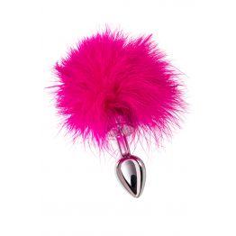 Анальная втулка TOYFA Metal маленькая, серебристая, с розовой опушкой