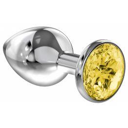 Анальная пробка Diamond Yellow Sparkle Small 4009-02Lola