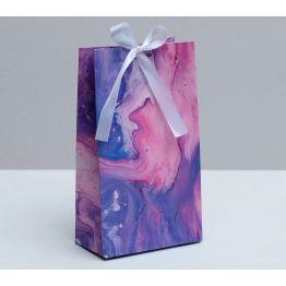 Пакет подарочный с лентой Мраморные разводы, 13 × 23 × 7 см   4753264