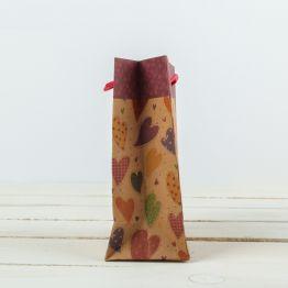 Пакет крафт  Разноцветные сердца , 11,5 х 6 х 14,5 см