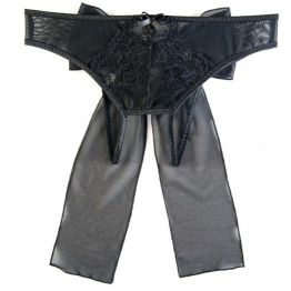 Эротические трусики из стрейч-сетки с бантом, черные (46-48)