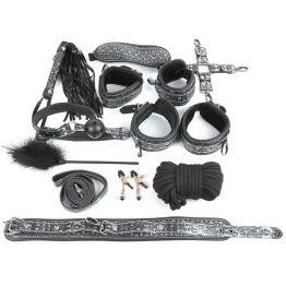 КОМПЛЕКТ (наручники, оковы, ошейник с поводком, верёвка, фиксатор, плётка, кляп, маска, зажимы для с