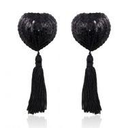 Наклейки на соски (пэстис) Anais Becca в форме сердечек с кисточками, чёрные