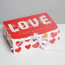 Коробка складная подарочная LOVE, 16.5 × 12.5 × 5 см 7120107
