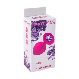 Анальная пробка Emotions Cutie Medium Pink dark purple crystal 4012-02Lola