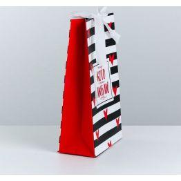 Пакет подарочный с лентой Тому, кого люблю, 13 × 23 × 7 см