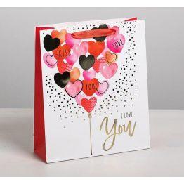 Пакет подарочный ламинированный вертикальный I love you с тиснением, ML 23 x 27 × 8 см