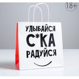 Пакет подарочный Улыбайся, 22 х 22 х 11 см   5114099