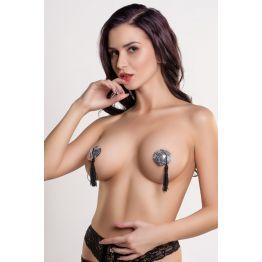 Пэстис в форме сердец с кисточками серебристо-черные