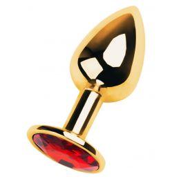 Анальный страз, металл, золотистый, с кристаллом цвета рубин, 7 см, Ø 2,8 см, 50 г 717004-9