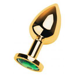 Анальный страз, металл, золотистый, с кристаллом цвета изумруд, 8 см, Ø 3,4 см, 85 г 717005-7